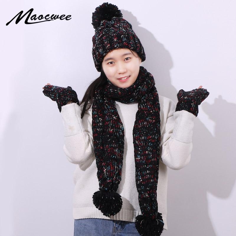 Three-piece Set Scarf Hat And Gloves Winter Warm Women Crochet Skullies Beanies PomPon Ball For Knitting Autumn Striped Cap