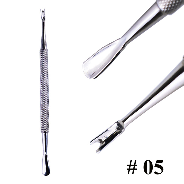1pcs Double-ended Stainless Steel Cuticle Pusher Dead Skin Push Remover For Pedicure Manicure Nail Art Cleaner Care Tool LA1-9-1 5