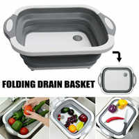 Hot! Folding Chopping Blocks 3 In 1 Multifunctional Folding Vegetable Basket Portable Cutting Board for Kitchen Home Living
