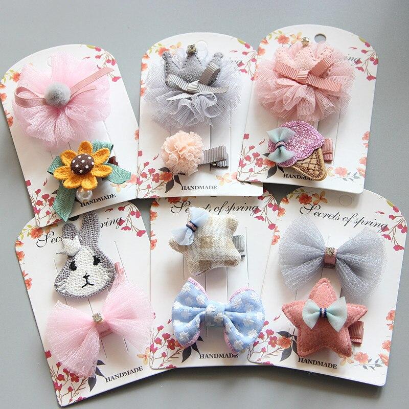 2pc/set Baby Girl Hairpins Floral Hair Clips For Girls Barrettes Kids Accessories Cute Bobby Pins Headdress Children Headwear