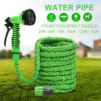 25FT-150FT Garden Hose Water Pipe Spray Nozzle Expandable Magic Flexible Garden Hoses Pipe Spray Gun 7 in 1 Watering Spray Gun
