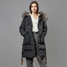 Escalier Womens Down Jacket Winter Long Coat with Raccoon Fur Hooded