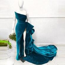 Elegant velvet strapless ruffled mermaid ball banquet party evening dress large size customization
