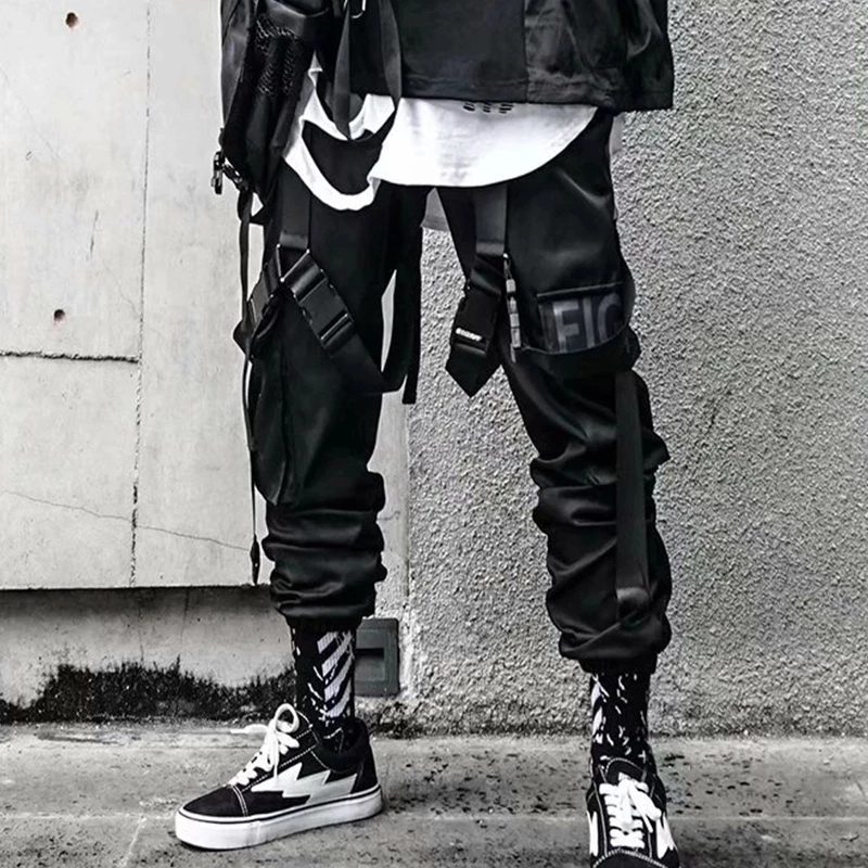 Joggers Cargo Pants for Men Casual Hip Hop Hit Color Pocket Male Trousers Sweatpants Streetwear Ribbons Techwear Pants