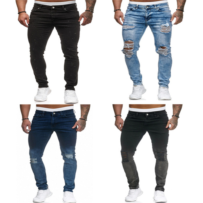 2020 New Men Skinny Jeans Black Blue Distressed Denim Stretch Jeans Male Hombre Slim Fit Straight Pants Fashion Ripped Hole Jean