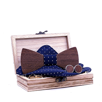Linbaiway Vintage Wooden Bowtie Pocket Square Cufflinks Set for Mens Wedding Handkerchief Wood Bow Tie Noeud Paperon Man Corbas