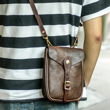 Fashion retro first layer leather men's small mini mobile phone bag Casual daily outdoor genuine leather shoulder messenger bag
