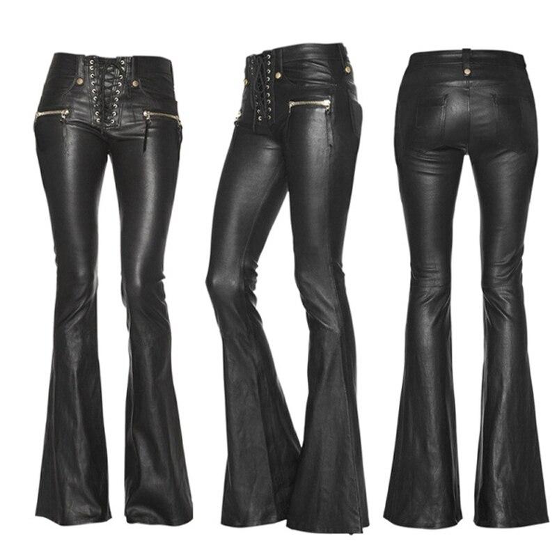Штаны из искусственной кожи для женщин расклешенные брюки с высокой талией модные повязки узкие облегающее брюки с широкими штанинами в ул...