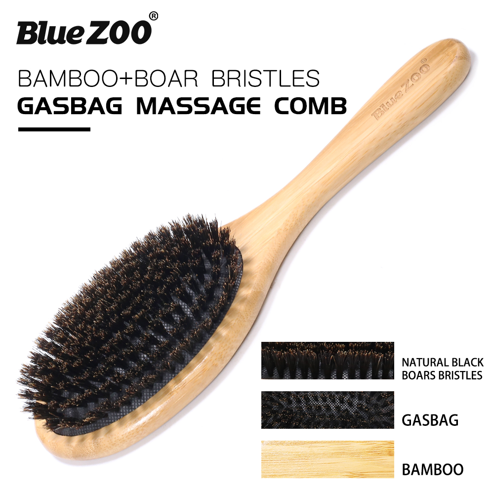 Blue ZOO Natural Bamboo  Hair Brush - Bamboo Black Boar Bristles Gasbag Massage Comb Improve Hair Growth-Prevent Hair Loss