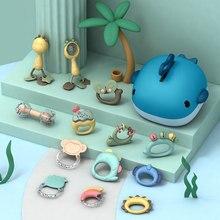 Zachte Baby Rammelaars Speelgoed Voor Pasgeborenen 0 12 Maanden Montessori Rubber Bijtring Voor Peuter 6 12 Maand Musical Crib Mobile rammelaar Gift