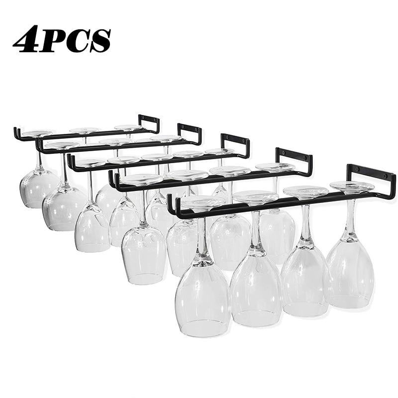 4Pcs/Set Wall-mounted Wine Glass Rack Household Bar Glass Cup Hanging Storage Shelf Goblet Holder