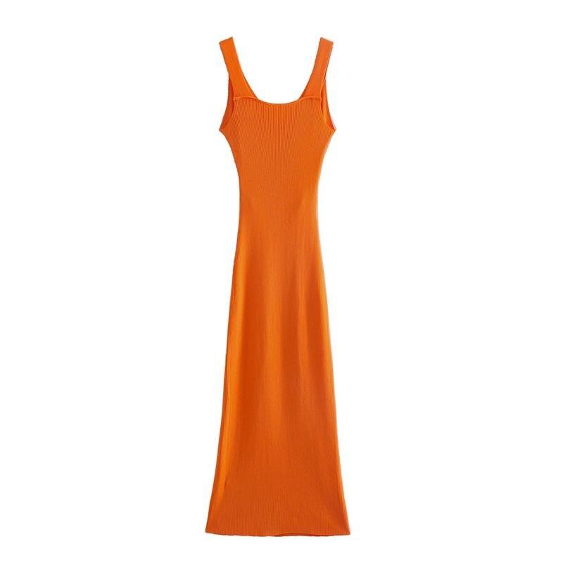Dress Za fashion simple stretch tight V-neck hollow women dress 2021 summer new style 100% cotton chic street party Dress women