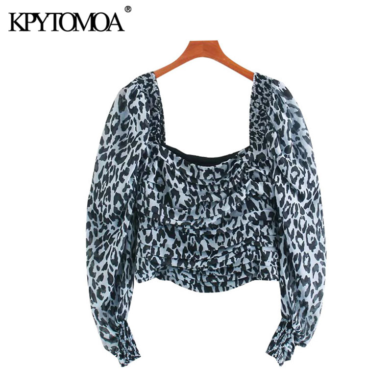 KPYTOMOA Women 2020 Fashion Leopard Print Pleated Cropped Blouses Vintage Puff Sleeve Side Zipper Female Shirts Blusas Chic Tops