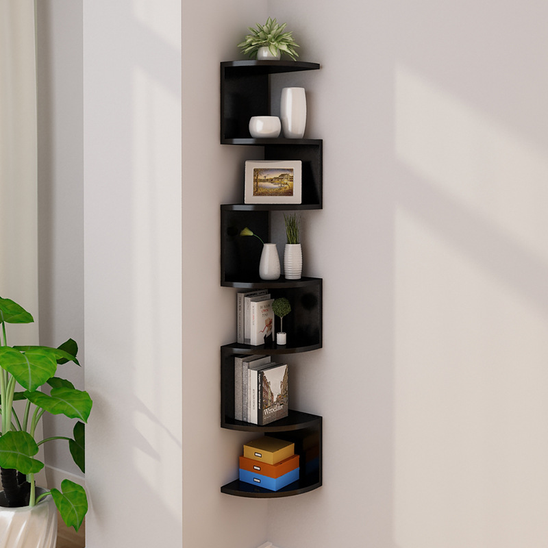 Estantes flotantes pared montado estante de almacenamiento rústico madera decorativa rack para cocina sala de estar dormitorio accesorios de baño, estantes montados en la pared, rectángulo de 7 niveles, blanco / negro|Soportes y estanterías de almacenamiento| - AliExpress