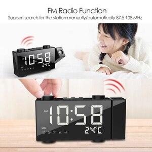 Image 4 - דיגיטלי הקרנת FM רדיו שעון מעורר 3 זמן מציג כפול שעון מעורר עם נודניק מדחום שעון USB/Batterys סמכויות