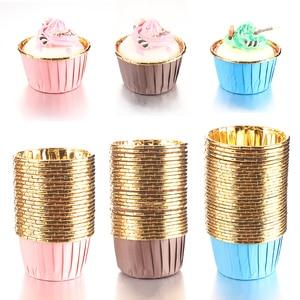 50 unidades/pacote 3 cores muffin cupcake forro bolo envoltórios baking cup bandeja caso bolo copos de papel ferramentas pastelaria festa suprimentos