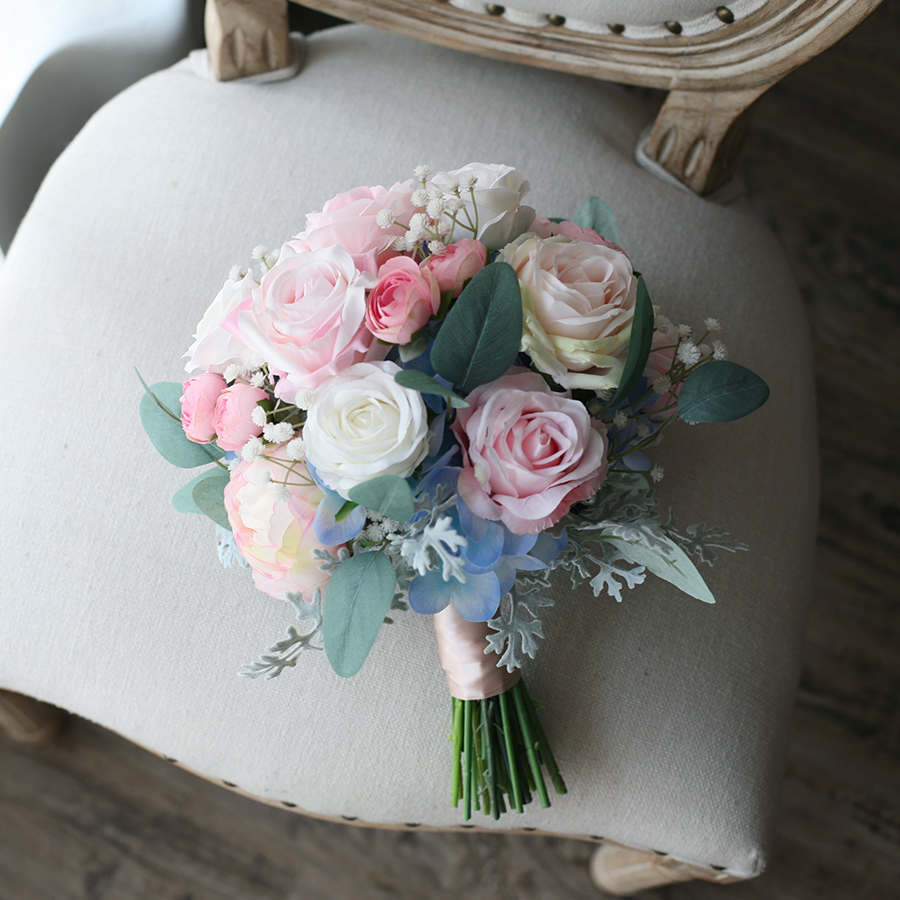 JaneVini 2020 Pink Blue Wedding Bouquets Hydrangea Silk Rose Peony Artificial Flowers Real Touch Bridal Fake Bouquet Accessories