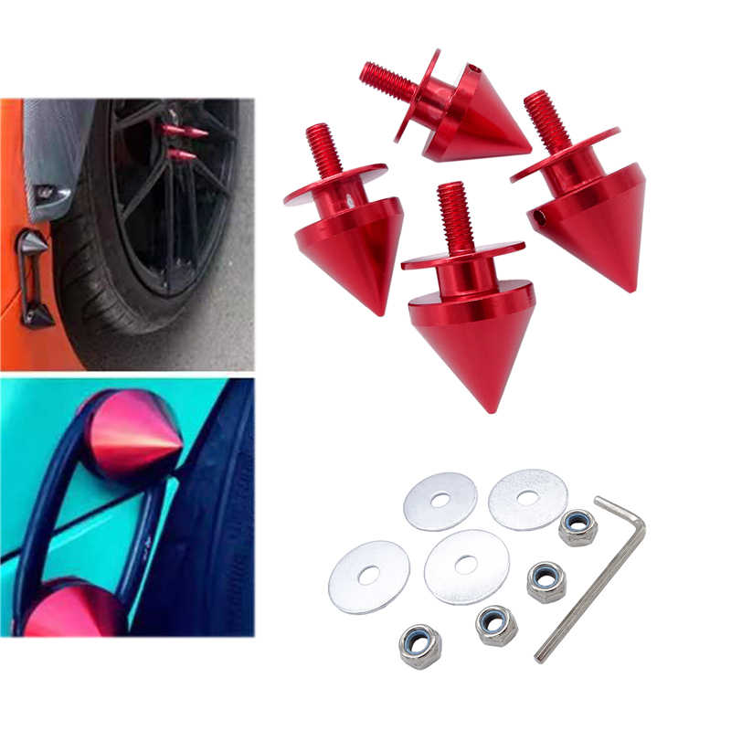 4 Pcs Pack Fasteners NUTS Bolt รถ SPIKE ด้านหน้ากันชน Hatch Lids Alloy QUICK RELEASE Fasteners ชุดสีแดง QRF015