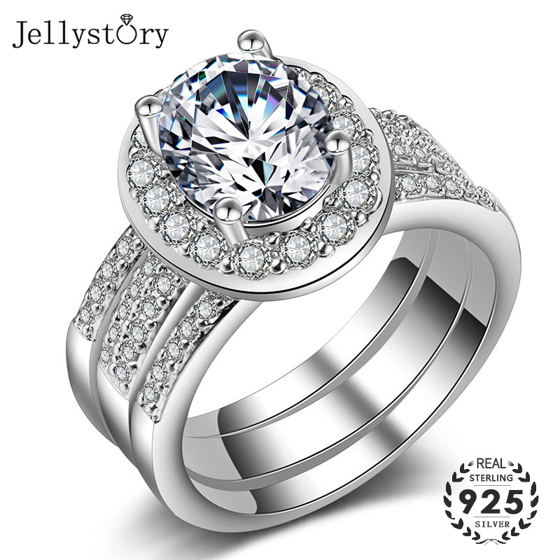 Jellystory luxury ring 925 sterling silver with 10mm oval shaped AAA zircon gemstone fine jewelry for female wedding party gifts