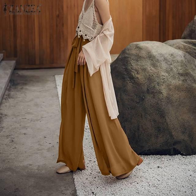 ZANZEA 2020 Stylish High Split Culottes Pants Women's Wide Leg Pants Causal High Waist Pantalon Female Turnip Plus Size Trousers