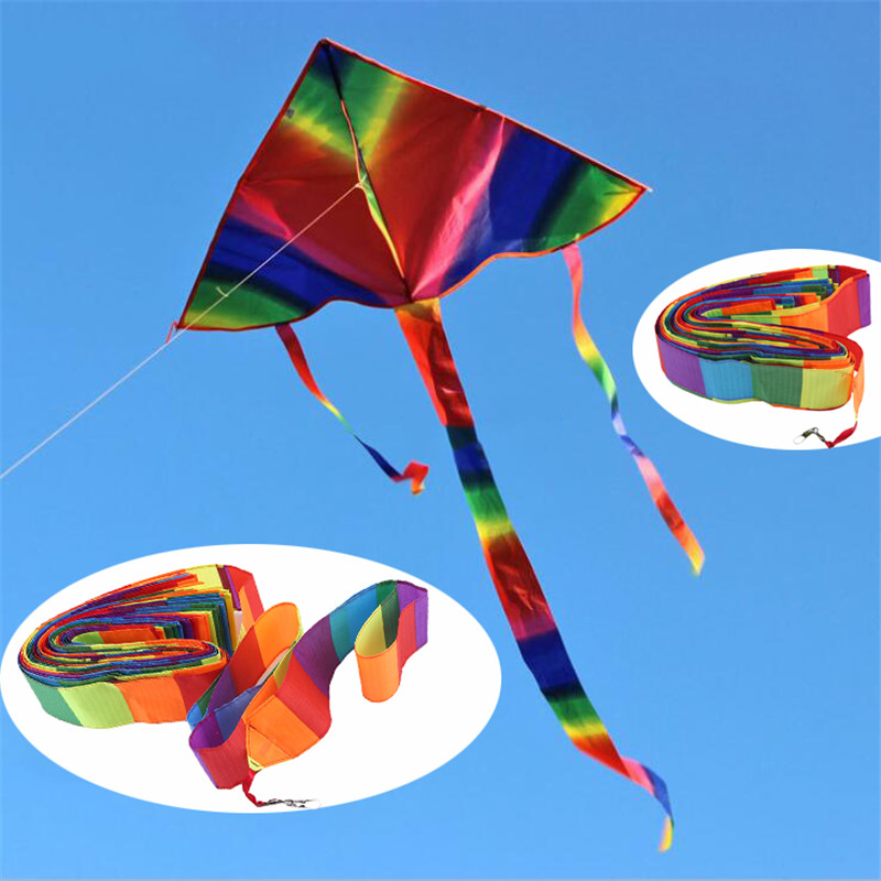 Colorful Kite Long Tail Floating Rainbow Floating Tailband Kids Flying Toy Plane Three-Dimensional Tube Tail Kite Accessories