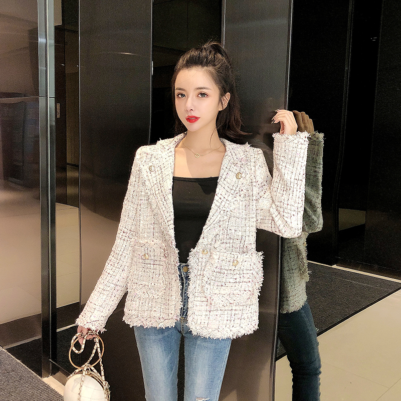 MUMUZI 2020 Spring And Winter New Cotton Blazers Women's Fashion Tweed Plaid Suit Ladies Jackets OL Plaid Big Pockets Coat