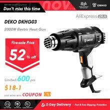 DEKO pistola de calor DKHG02, 220V, 2000W, 3, temperatura ajustable, pistola de aire caliente eléctrica avanzada, con 4 accesorios de boquilla, herramienta eléctrica