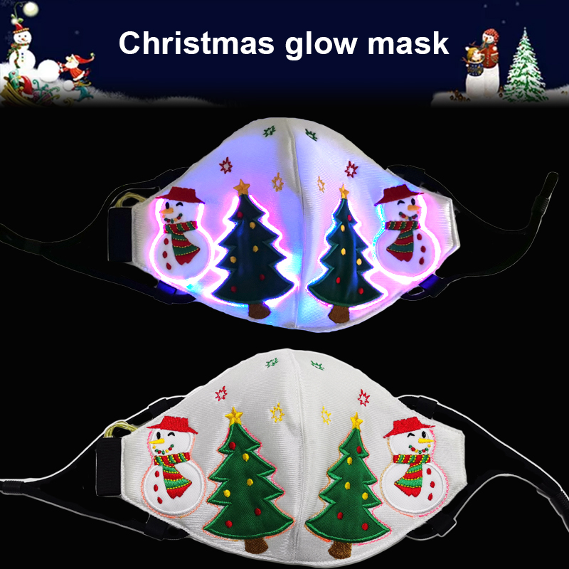 7 Color Light Up Face Mask Fiber Optic Fabric Face Mask LED Glow Christmas Party Mask Soft Breathable Face Mask For Adults TSLM1 1