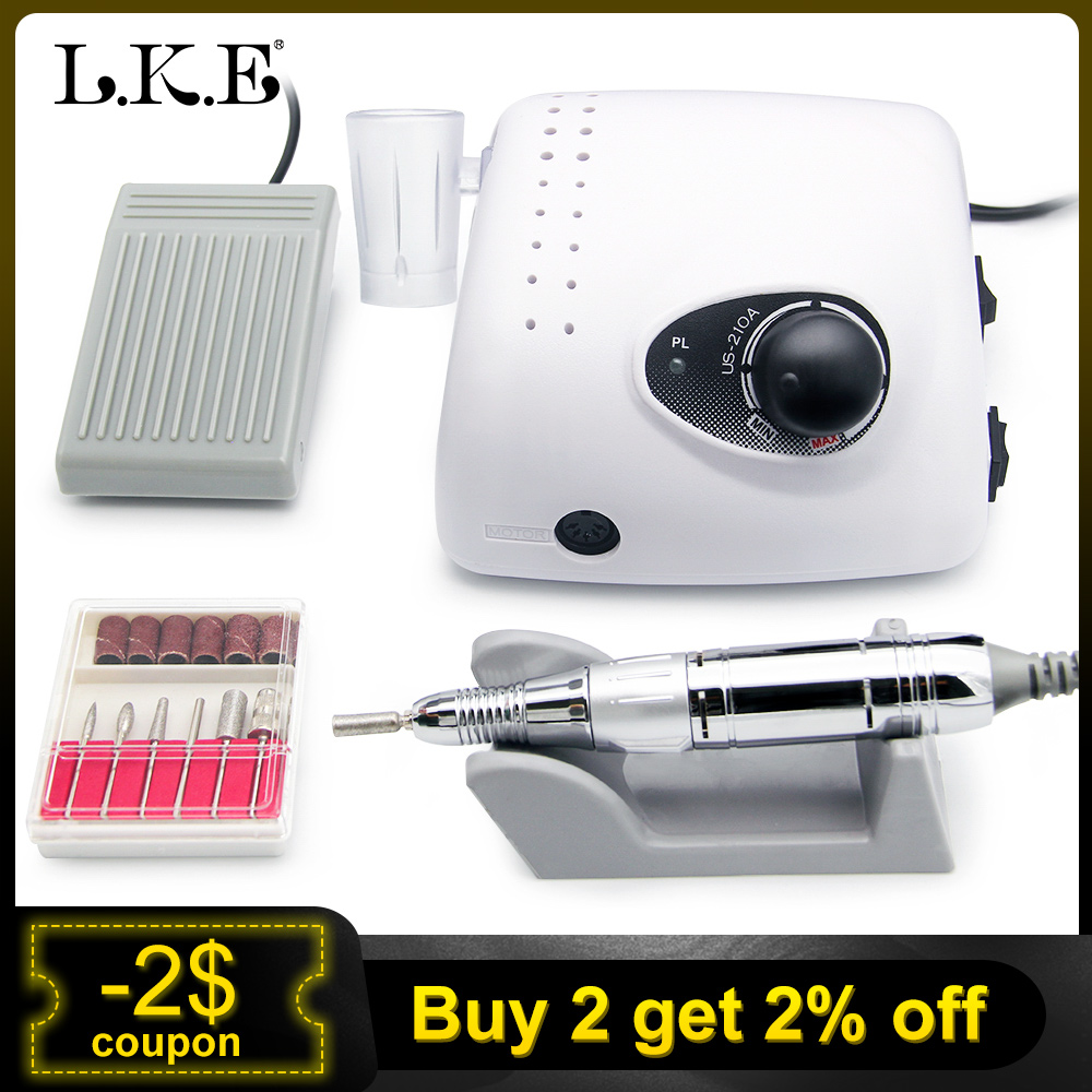 LKE Strong 210 Electric Nail Drill For 35000 RPM Cutters For Manicure Machine Nail Art Sets Equipment Manicure Drill Nail Tools