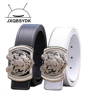 Image 5 - 2020 Luxury Brand Belts for Men Fashion Shiny Diamond Domineering Tiger Head Buckle Waist Shaper Leather Belts