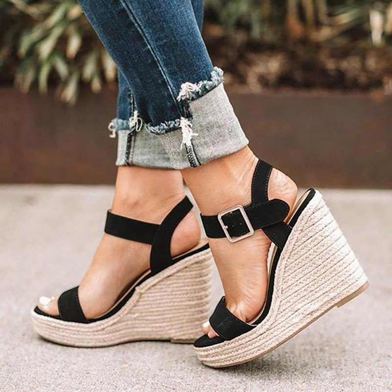 Womens Casual Espadrilles Buckle Strap Open Toe Fashion Sandals Slope Heel Shoes