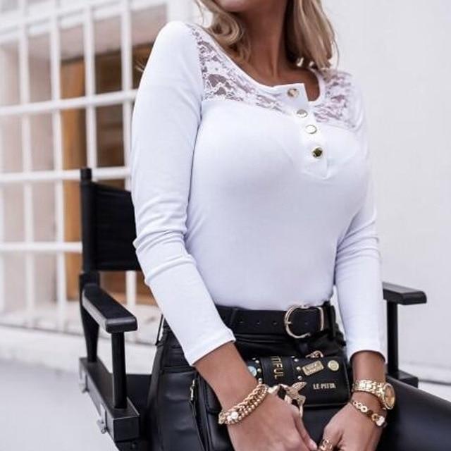 2021 Fashion Spring Ladies Mesh Lace Blouse Elegant Long Sleeve Autumn Shirt Pullover Women Casual O Neck Button Slim Tops Blusa 4
