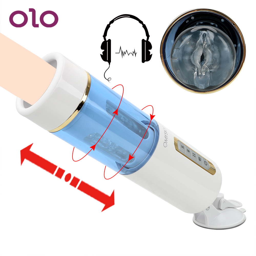 OLO Male Masturbation Cup Automatic Telescopic Sex Machine With Strong Suction Cup TPE Artificial Vaginal Sex Toys For Men