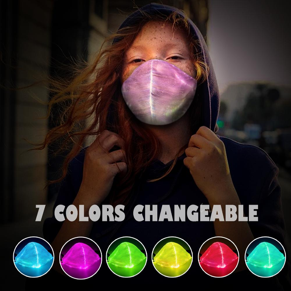 7 Colors P2.5 Led Flashing Light Up Dust Mask USB Rechargeable Luminous Fiber Optic Glowing Party Face Masks