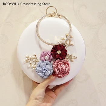 Solid Color Fashion New Korean Style Flower Dinner Clutch Womens Mini Chain Golf Bag round Shoulder/Crossbody