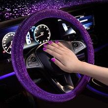 Luksusowy kryształ fioletowo czerwony różowe pokrowce na kierownicę samochodową kobiety dziewczęce Diamante Rhinestone pokryte kierownicą akcesoria do kół