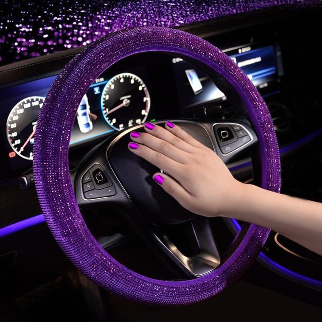 Luxury Crystal Purple Red Pink Car Steering Wheel Covers Women Girls Diamante Rhinestone Car Covered Steering Wheel Accessories