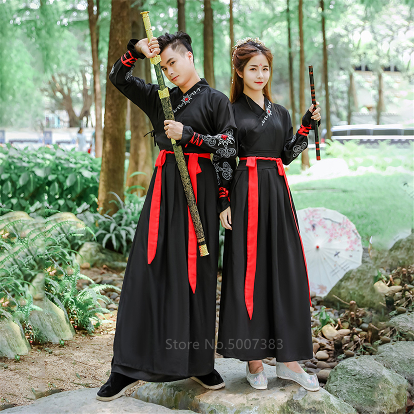 Ancient Chinese Costume Traditional Dynasty Men Tang Suit Women Hanfu Dress Folk Party New Year Clothes130-180 Cosplay Halloween