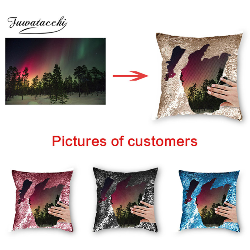 Fuwatacchi Custom DIY Mermaid Sequin Cushion Cover Magical Throw Pillowcase Color Changing Reversible Pillow Case For Home Decor