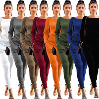 Lossky Women Set knitted suit 2019 Casual Track Suit O neck Long Sleeve solid Bodycon women's sports suits spring Autumn Winter