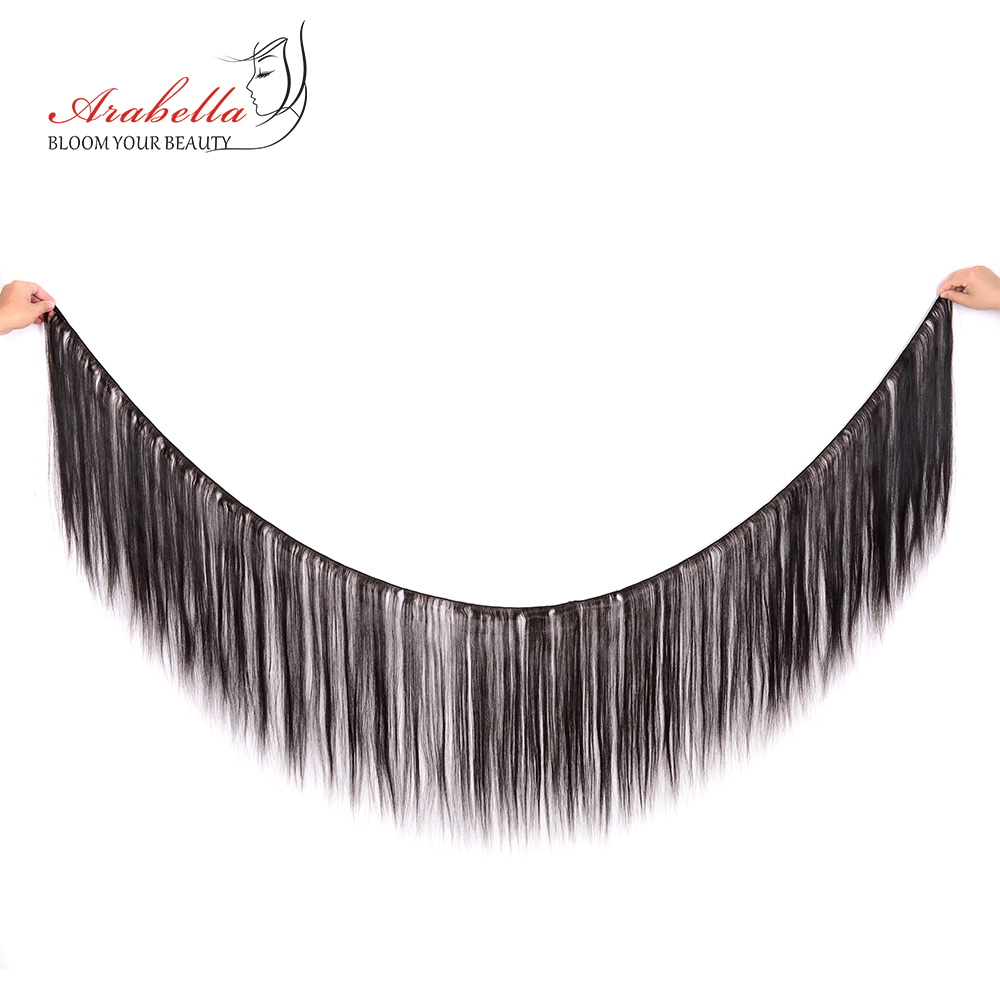 Bundles With Frontal  Straight Hair 100%  Bundles Arabella Pre Plucked Lace Frontal With Bundles 2