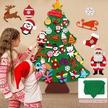 DIY фетровая Рождественская елка Декор Санта-Клаус Детские игрушки Рождественский Декор для дома 2020 рождественские подвесные украшения нов...
