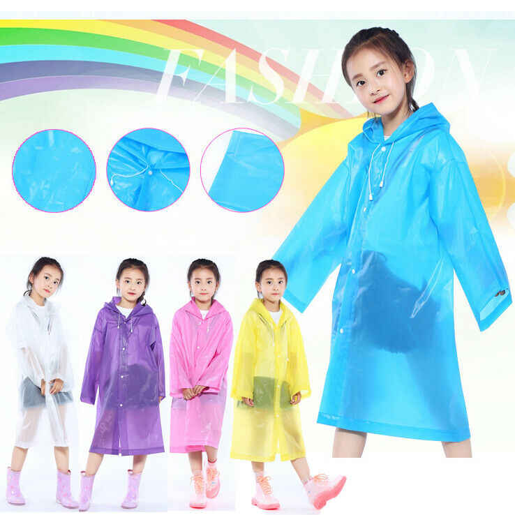 Kids Girls Boys Student Raincoat Button Down Loose Hooded Solid Rainwear Coats