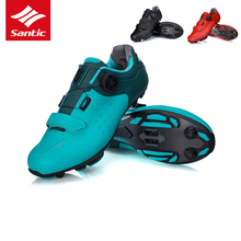 Santic Pro MTB Bike obuwie rowerowe ultralekkie buty na rower górski z włókna węglowego oddychające antypoślizgowe buty na rower sportowy Auto-lock tanie tanio Syntetyczny Średnie (b m) Hook loop Dla dorosłych Pasuje prawda na wymiar weź swój normalny rozmiar RUBBER cycling shoes