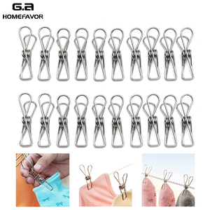 40 or 20 Clothespins For Clothes Photo Stainless Steel Peg Decorative Paperclip Towel Hanger Sheet Clip Sock Holder Laundry Tool(China)