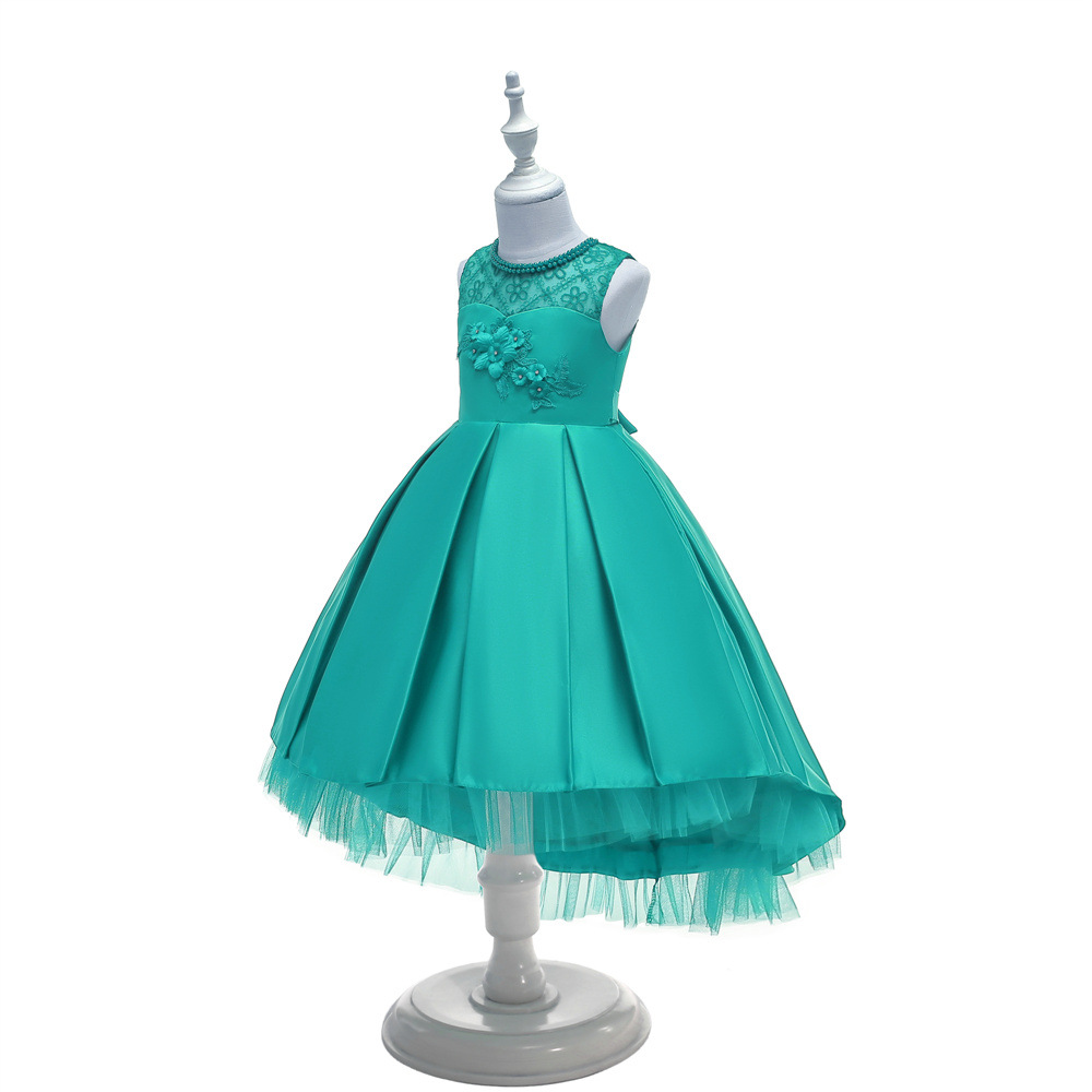 Europe And America Middle And Large Girls' Shirt CHILDREN'S Dress Princess Dress Long Tailing Girls Lace Flower Boys/Flower Girl