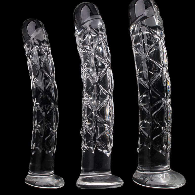 3 Size Crystal Big Glass Dildo Realistic Penis Artificial Anal Dildo G-spot Stimulate Female Masturbates Glass Dildos For Women