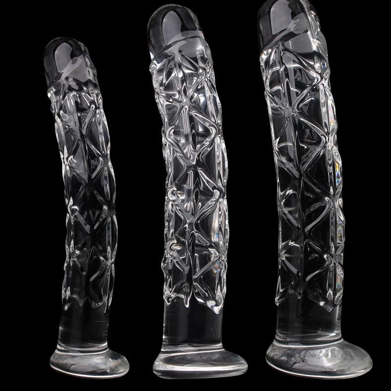 3 Size Crystal Big Glass Dildo Realistic Penis Artificial Anal Dildo G-spot Stimulate Female Masturbates Glass Dildos For Women