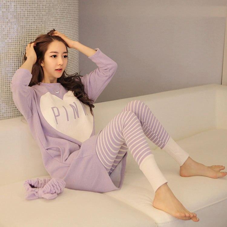 -Pajamas Women Long Sleeve Trousers Purple Pink Peach Heart Qmilch Thin Women's Home Wear Stripes Trousers Case