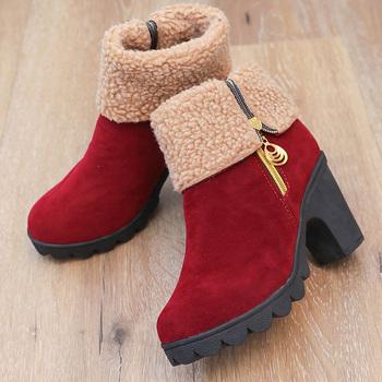 2020 kobiet zima śnieg buty ocieplane 8 5cm wysokie obcasy owcze futro filcowe buty na platformie blok niskie obcasy pluszowe botki Chunky Shoe tanie i dobre opinie DiJiGirls Flock ANKLE Faux Futra Stałe Plac heel Podstawowe Okrągły nosek Wiosna jesień Fabric RUBBER Super Wysokiej (8cm-up)